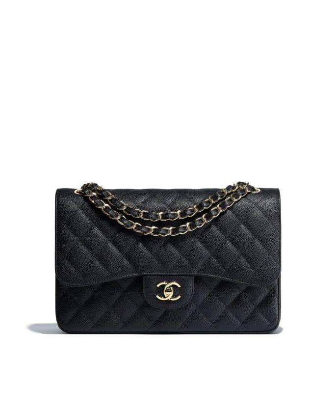 067ab222d123 Grained Calfskin   Gold-Tone Metal Black Large Classic Handbag ...