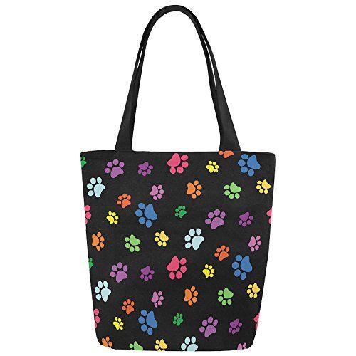 Interestprint Rainbow Dog Paw Print Canvas Tote Bag Handbag Shoulder For Women S