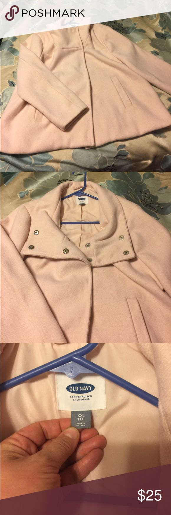 EUC pink Pea coat Old navy pink pea coat, EUC   Too big for me now.  Very flattering!  The neckline is adorable in the different ways you can style.  Size XXL Old Navy Jackets & Coats Pea Coats