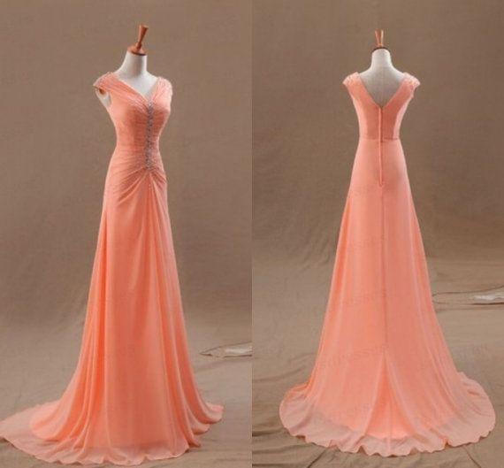 Salmon prom dress simply beautiful!