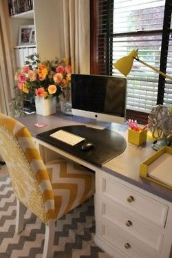 yellow + grey. chevron. office: Desks Area, Desks Chairs, Color, Offices Spaces, Chevron Chairs, Work Spaces, Workspaces, Home Offices, Desks Spaces