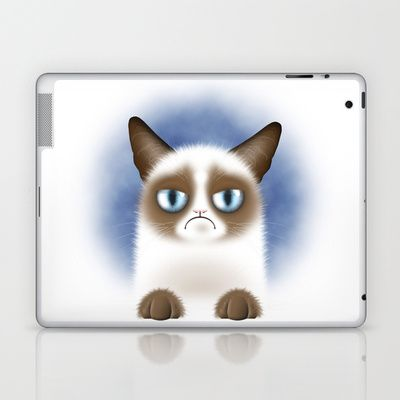 Digital portrait of a grumpy siamese cat who hates everything :)    Laptop & iPad Skin / iPad (2nd, 3rd, 4th Gen) $25.00