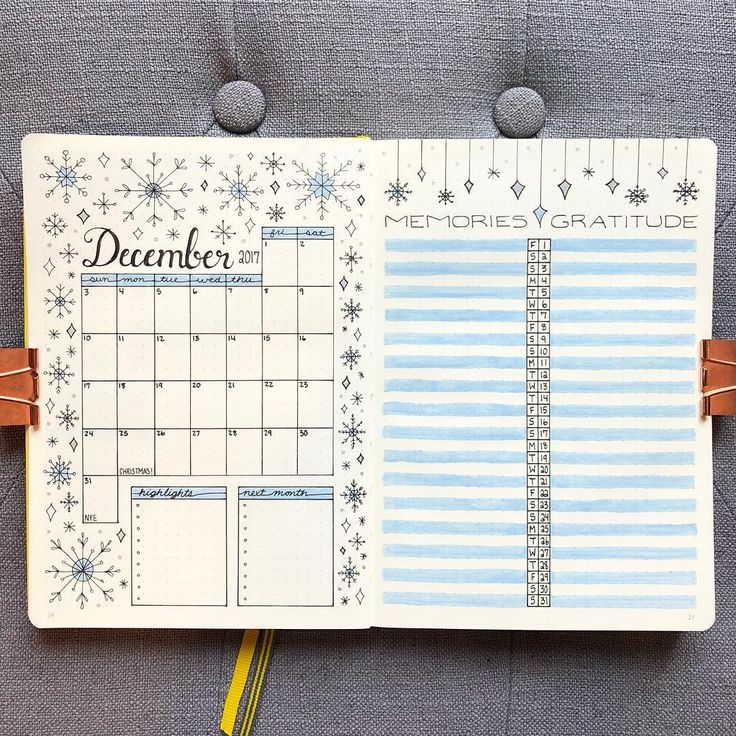 "bujo_blossoms FINALLY ready for December! I don't have a set theme for this month, I've had a pretty bad case of ""bujo-block"" lately. I decided to draw a snowstorm for my monthly because that's how my brain feels right now ❄️"