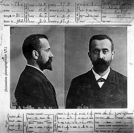 "ca. 1900, forensic ""Bertillonage"" card, of Alphonse Bertillon. Bertillon employed anthropometry, an identification system based on physical measurements, to identify criminals. Before that time, criminals could only be identified based on unreliable eyewitness accounts. The method was eventually supplanted by fingerprinting."