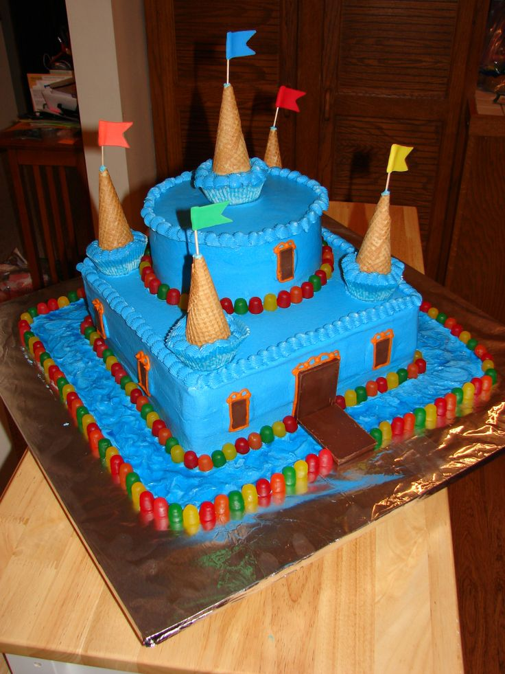 Castle Birthday Cake - Blue Candy castle cake for several kids with September birthdays at a local shelter
