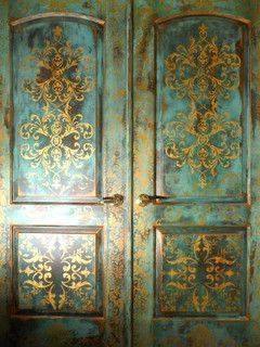 Faux Painted Doors - mediterranean - windows and doors - portland - by Johanna Annable, Old World Fine Artist