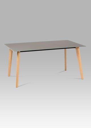 DT-1091 CAP  Moderní jídelní stůl 160x90 cm bude skvělým designovým kouskem do jídelny či kuchyně. Tvrzené sklo v barvě cappuccino o tloušťce 10 mm. Nohy jsou v barvě dub.