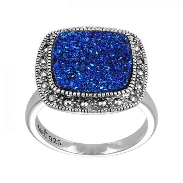 Pre-owned Sterling Silver Ring Set With Blue Druzy Size 7 ($120) ❤ liked on Polyvore featuring jewelry, rings, blue jewelry, pre owned jewelry, sterling silver jewellery, preowned jewelry and preowned rings