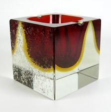 Murano Glas Aschenbecher / Blockascher Sommerso Venetian Glass Ashtray Vintage +