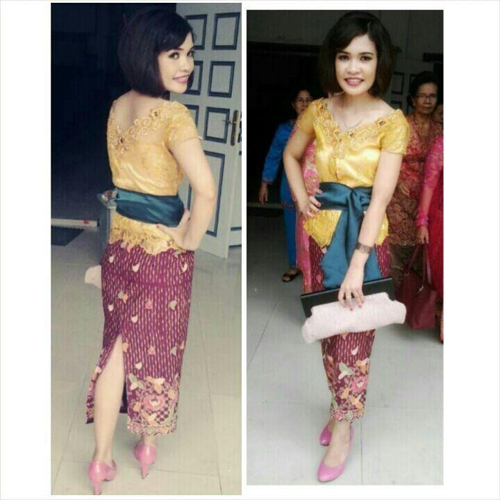 Brokat semi perancis kuning, obi, dan batik indonesia