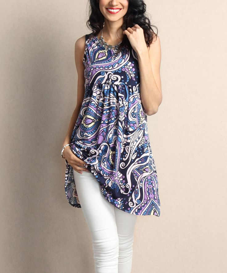 This Purple Paisley Empire-Waist Sleeveless Tunic Dress by Reborn Collection is perfect! #zulilyfinds