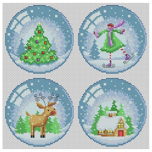 Snow Globe Scenes Cross Stitch Pattern | Lucie Heaton Cross Stitch Designs