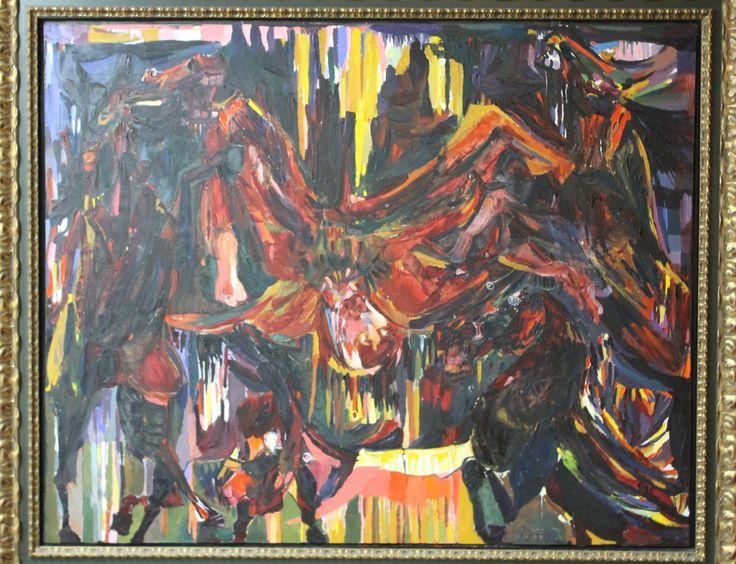 """Título de la obra: Muerte de Tupac Amaru (1991) esta obra fue realizada para la """"Expo de Sevilla 1992"""", la obra representa a Tupac Amaru atado a 4 caballos salvajes con la intención de desmembrarlo."""