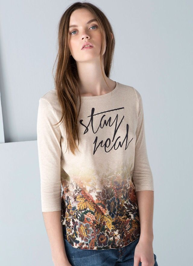 Bershka flowers and text T-shirt