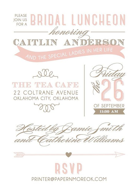 Blush and taupe bridal luncheon invitation