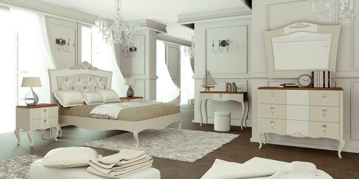 33 Lleva el estilo clásico a tu dormitorio con esta composición que refleja el gusto por el trabajo bien hecho, acabado en marfil lacado, blanco perlatto y cerezo. cama para colchón de: 150 x 190 cm; mesita: 60 x 69 x 40 cm; cómoda: 125 x 110 x 50 cm; espejo: 110/97 x 103 cm. tocador: 115 x 82 x 36 cm