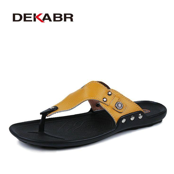 DEKABR Brand Genuine Leather Shoes Men Slippers Summer Deodorant Sandals Casual Men Beach Shoes Fashion Men Flip Flops Sandalias //Price: $41.96 & FREE Shipping //     #VAPE