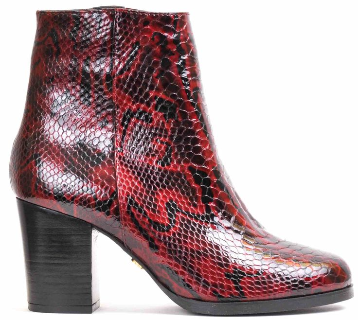 Ankle boot red snake