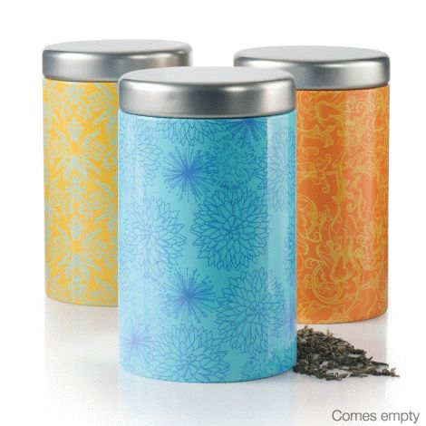 Tea-lightful! Perfectly giftable accessories for the avid tea drinker. Set of 3 tins, each 8 cm diam. x 14 cm H. Hand wash.