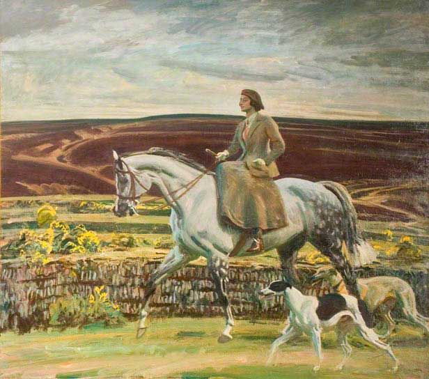 Lady Munnings Riding a Grey Hunter (Magnolia) Side-Saddle, with Her Dogs on Exmoor by Sir Alfred Munnings