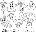 Outlined Happy Vegetables