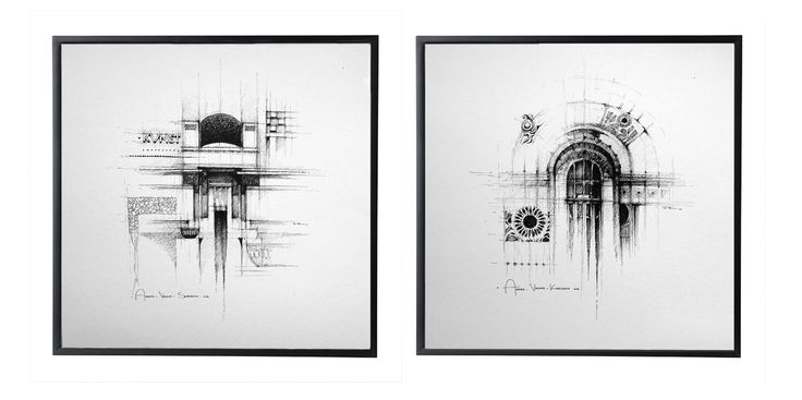 VIENNA - SECESSION DrawingS on paper, 2X 30cmx30cm, ink © Pavel Filgas 2016