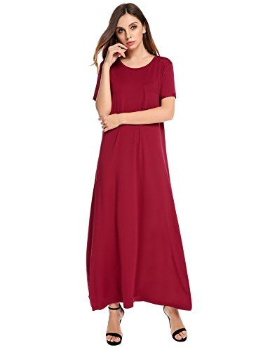 c78246ad444f New Meaneor Women s Short Sleeve Loose Casual Long Maxi Dress online. Find  great deals on