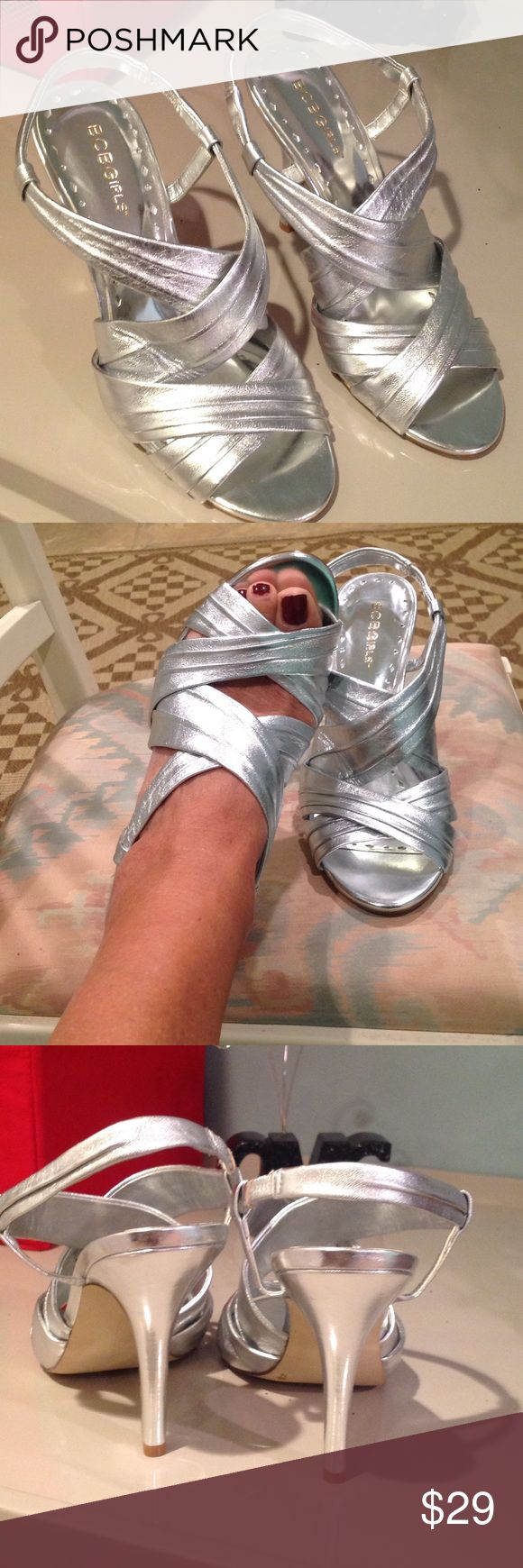 """BCBG Silver evening shoes Sexy silver evening shoes. Worn once. Elastic heel strap. Heel height is 4 1/2"""". BCBGirls Shoes Heels"""