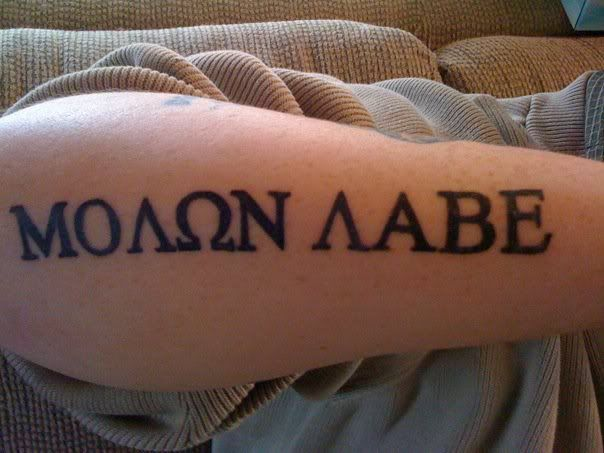 Good old molon labe tattoos pinterest you think for Where do tattoos come from