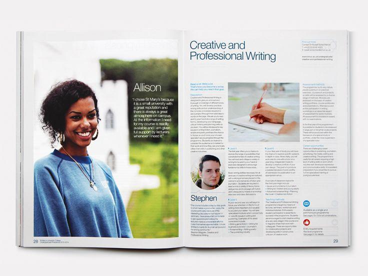 St Marys University College Undergraduate Prospectus student portrait and course page