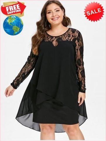 59900788722 Best Prices Plus Size High Low Hem Sheer Lace Sleeve Dress 4029671  VfjTrIo0JiRmXwqGk8hZ Cheap Sale  RoseGal.com