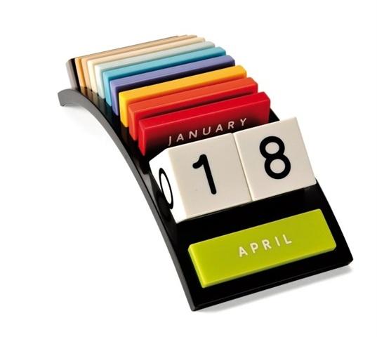 Rainbow perpetual calendar made of Corian by Niels Kjedsen