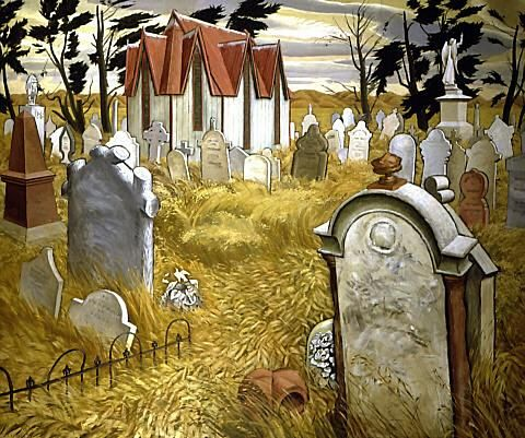 """Bill Sutton, """"Nor'wester in the Cemetery"""" 1950. Auckland Art Gallery Toi o Tamaki, NZ"""