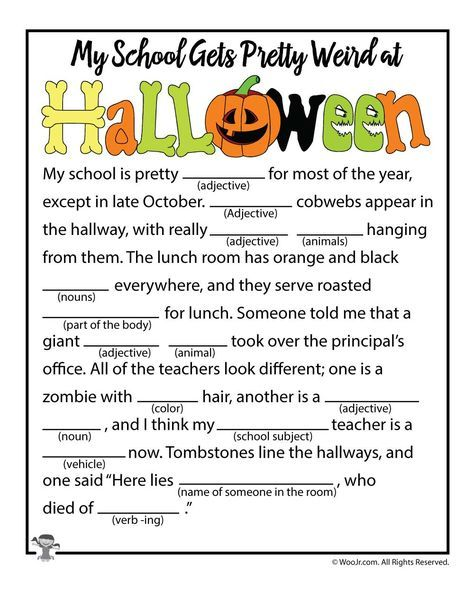 Halloween at School Mad Lib