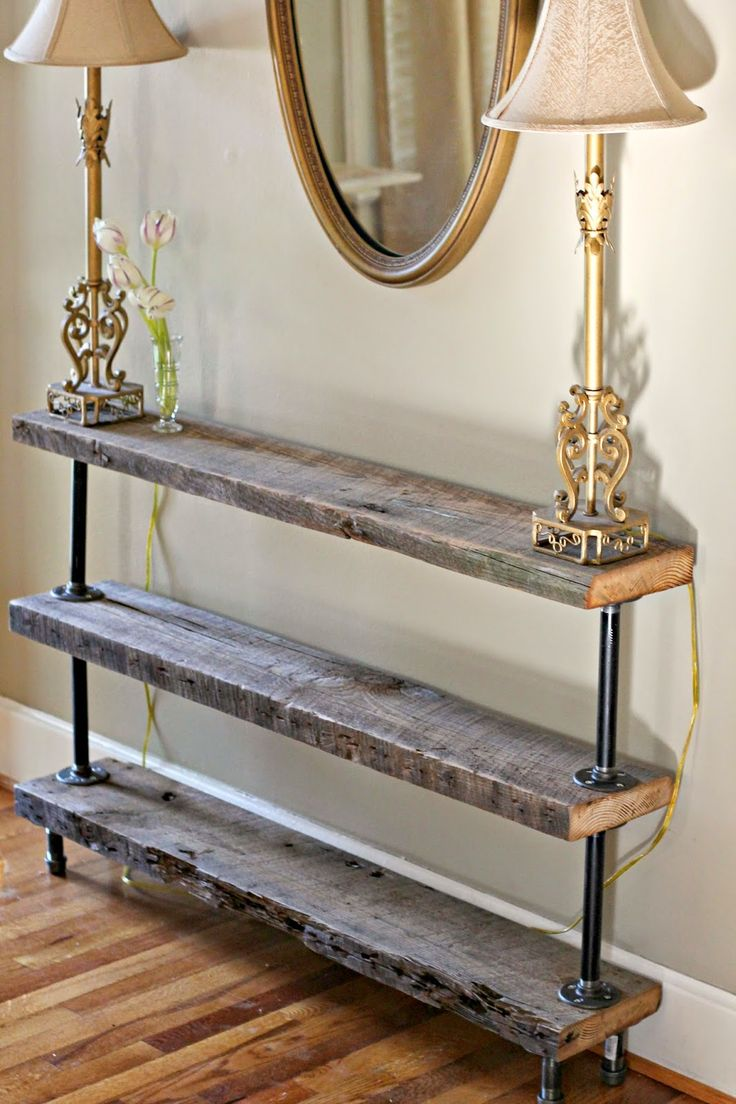 Rustic living room decor rustic hallway table and rustic entryway - Diy Reclaimed Wood Console Table Love This For The Living Room