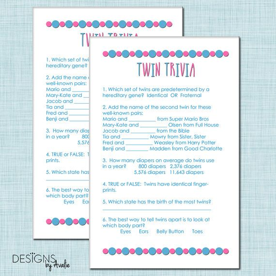 Twin Trivia Baby Shower Game for Boy Girl Twins by DesignsbyAvalie