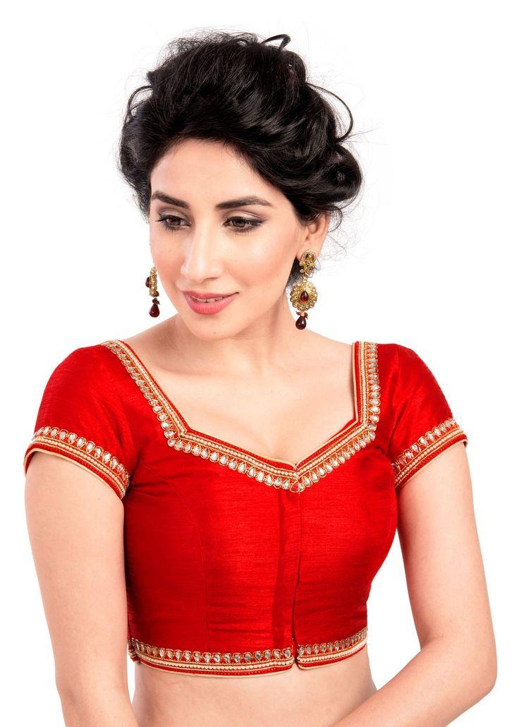 Ravishing Moti Laced Red Ready-made Saree Blouse X-234
