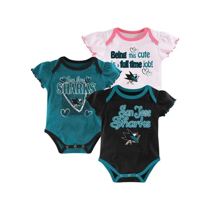 San Jose Sharks Girls' Infant/Toddler 3 Pk Body Suit 3-6 M, Multicolored