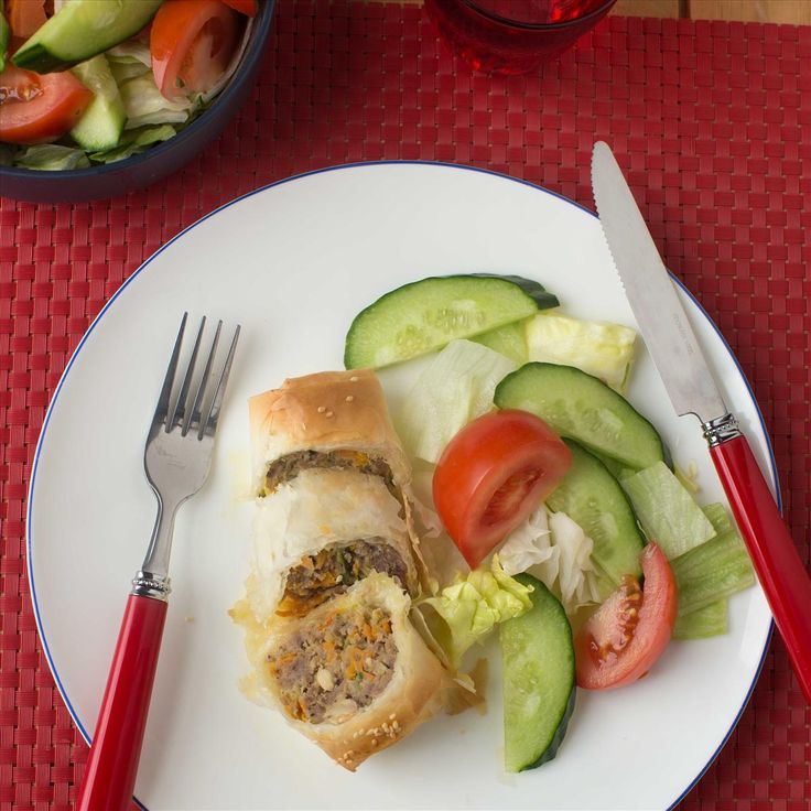 Pork, Apple and Cranberry Filo Rolls with Salad