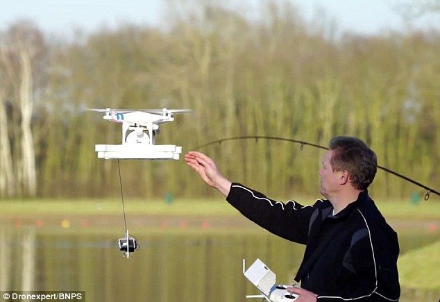 Fishing gets futuristic: Drone lets anglers fly out their bait and find plant-free spots with plenty of fish   Drone has a winch that lowers an underwater camera and the bait. The drone is flown out over the water before the bait is lowered. It lets fisherman avoid getting their line stuck in plants. (+video)