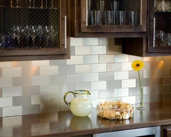 50 Best Kitchen Backsplash Ideas For 2017: Kitchens, Remarkable Peel Stick Vinyl Tile Brown Color