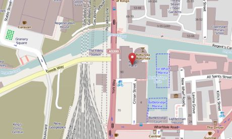 The Guardian's location on OpenStreetMap, January 2014