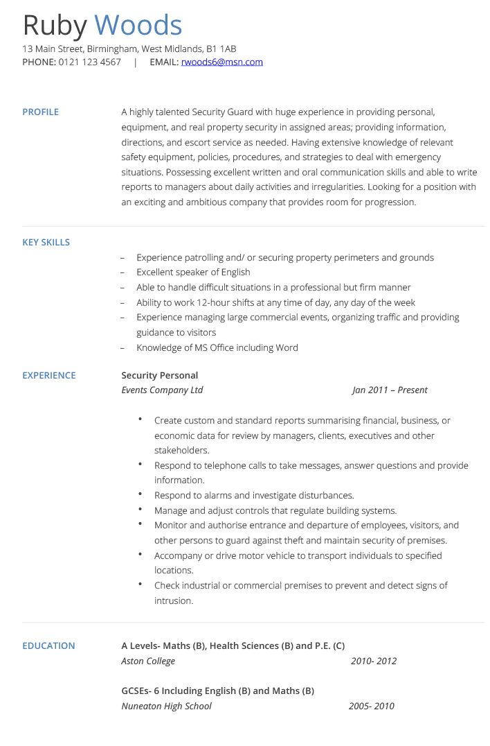 7 best Sercurity images on Pinterest Resume, Resume ideas and - school security officer sample resume