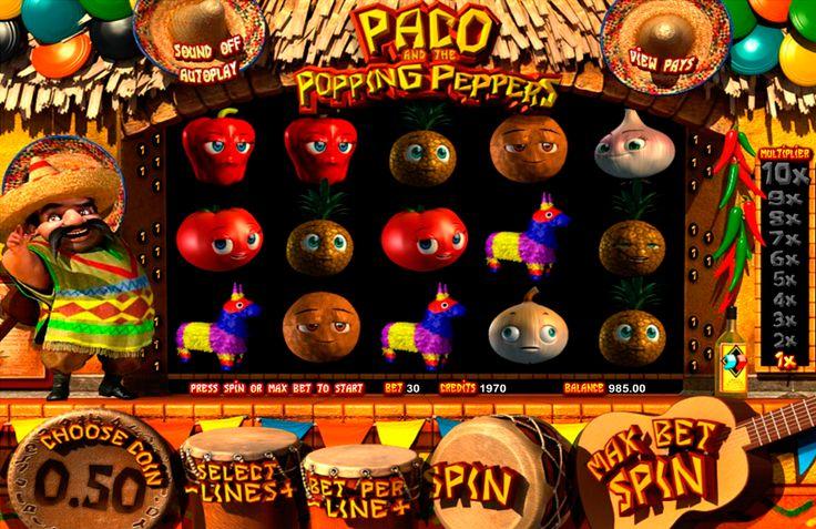 Paco and the Popping Peppers on valtava Betsoft kolikkopeli verkossa! Aloitta pelamaan tämän hyvää kolikkopeli netissä, ja varmasti voittat isot raha summat online. Pelissa on valtava grafiikka, erilaiset bonuspelit, 5 rullat ja 30 voittolinjat.