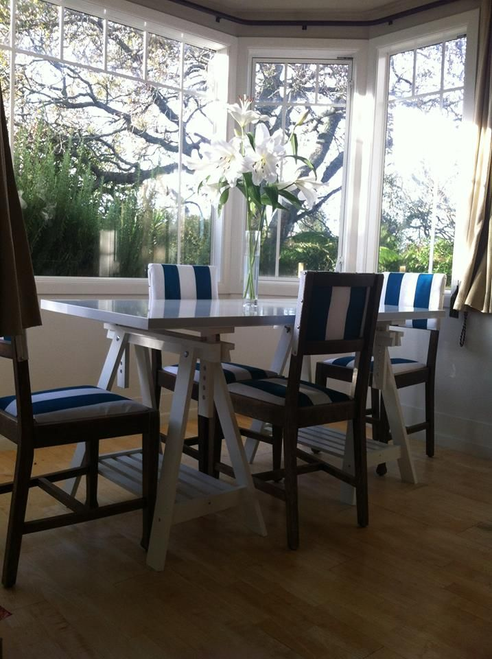 Reupholstered Dining Room Chairs, Light Bright and Breezy.