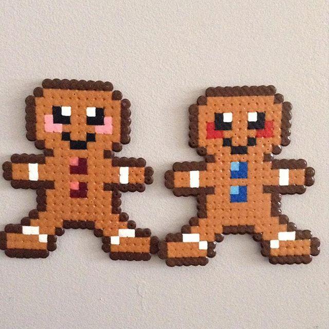 Gingerbread men - Christmas hama beads by hama_laya