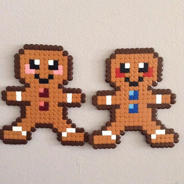 Gingerbread men - Christmas hama beads by hama_laya