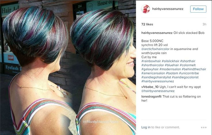 Rainbow hair, Stacked bob, short hair, color melt