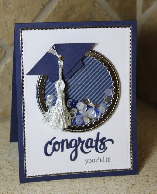 What's Next? Graduate Shaker card Hero Arts - Congrats Stamp and Cut, acetate Pretty Pink Posh - Scallop Circles, sequins Stampin' Up - navy card stock, patterned paper Stash - silver card stock
