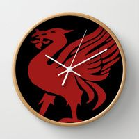 Wall Clock featuring Liverpool FC and City emblem the LiverBird by jt7art&design